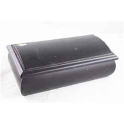 BLACK WOODEN JEWELLERY BOX FILLED WITH MISC ESTATE JEWELLERY