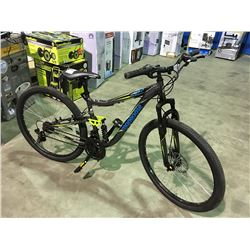 MONGOOSE 21 SPEED FULL SUSPENSION MOUNTAIN BIKE WITH DISC BRAKES - GREY & BLUE