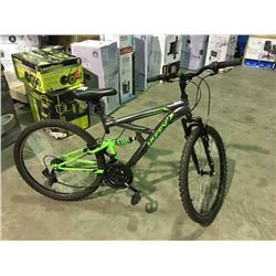 HUFFY 18 SPEED FULL SUSPENSION MOUNTAIN BIKE - GREY  & GREEN