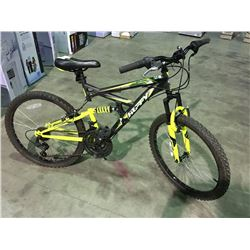HUFFY 18 SPEED FULL SUSPENSION MOUNTAIN BIKE - GREY  &  YELLOW