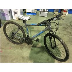 HUFFY 18 SPEED MOUNTAIN BIKE - GREY  &  BLUE