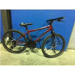 HUFFY 18 SPEED YOUTH SIZED MOUNTAIN BIKE - RED
