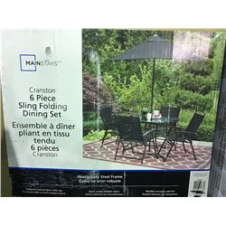 CRANSTON 6 PIECE SLING FOLDING PATIO DINING SET