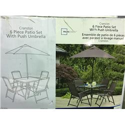 CRANSTON 6 PIECE  PATIO DINING SET WITH PUSH UMBRELLA