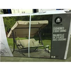 HOME TRENDS CUSHIONED 3 SEAT OUTDOOR SWING