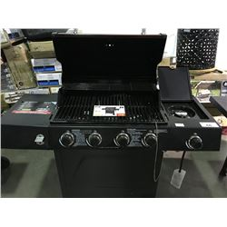 BACK YARD GRILL RED LID 4 BURNER GAS  BBQ (TEMPERATURE GAUGE MISSING)