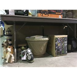 GROUP OF OUT DOOR YARD ITEMS - FOUNTAIN, DECORATIVE PUPPY, PLANT CONTAINER ETC.