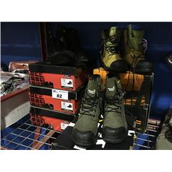 5 PAIRS OF ASSORTED WORK BOOTS - DIFFERENT STYLES & SIZES