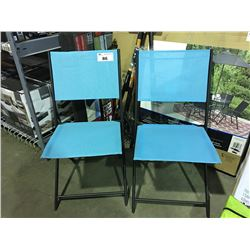 PAIR OF ROBIN EGG BLUE FOLDING OUTDOOR CHAIRS
