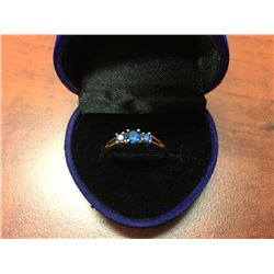LADIES GOLD BLUE SAPPHIRE RING