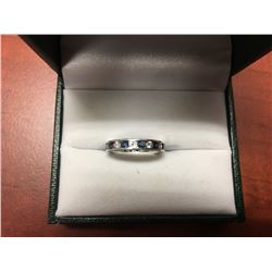LADIES BEAUTIFUL WHITE GOLD INFINITY BLUE SAPPHIRE & DIAMOND  RING