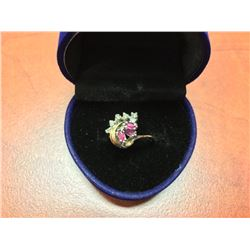 10K GOLD LADIES GARNET & DIAMOND RING