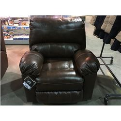 BROWN LEATHER LIVING ROOM RECLINER CHAIR