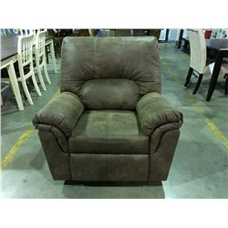 BROWN MICRO FIBER FABRIC LIVING ROOM RECLINING CHAIR