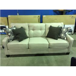 LIGHT BEIGE 3 SEATER CONTEMPORARY SOFA WITH 4 THROW CUSHIONS