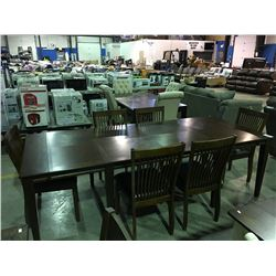CONTEMPORARY DINNING ROOM TABLE WITH 2 LEAVES & 6 CHAIRS