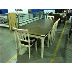 CONTEMPORARY 2 TONE BROWN & OFF WHITE  DINNING ROOM TABLE WITH 2 LEAVES & 4 CHAIRS & BENCH SEAT