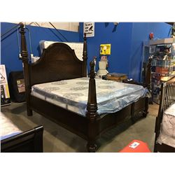 KING SIZED MAHOGANY FINISH  4 POSTER BED - HEAD BOARD, FOOT BOARD & RAILS
