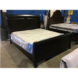 KING SIZED DARK WOOD  FINISH SLEIGH BED - HEAD BOARD, FOOT BOARD & RAILS