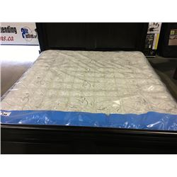 KING SIZED  MATTRESS & BOX SPRING SET ( ONE UNDERSIDE CORNER HAS TEAR IN FABRIC)