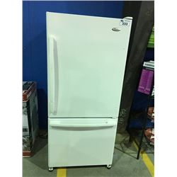 WHIRLPOOL WHITE 2 DOOR REFRIGERATOR ( MINOR SCRACTHES & DENTS MAY BE PRESENT)