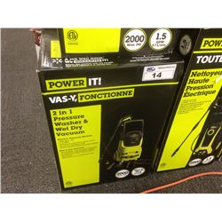 POWER IT! 2 IN 1 PRESSURE WASHER AND WET AND DRY VACUUM 2000 MAX PSI