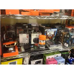 LOT OF ASSORTED ELECTRONICS INCLUDING HEADPHONES, BLACKWEB WIRELESS KEYBOARD, ETC.