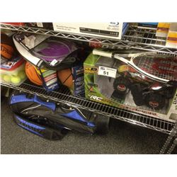 LOT OF ASSORTED SPORTING GOODS INCLUDING BASKETBALLS, REMOTE CONTROL CARS, SUSPENSION SCOOTER, ETC.