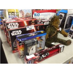 LOT OF STAR WARS TOYS INCLUDING KYLO REN, MILLENNIUM FALCON, ETC.