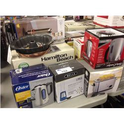 LOT OF HOUSEHOLD ITEMS INCLUDING MICROWAVE, DEEP FRYER, ETC.