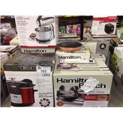 LOT OF HOUSEHOLD ITEMS INCLUDING  MEAT SLICER, GRILL, SUNBEAM MIXMASTER ETC.