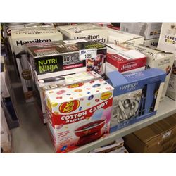 LOT OF HOUSEHOLD ITEMS INCLUDING  COTTON CANDY MACHINE, COFFEE URN, NUTRA NINJA BLENDER ETC.