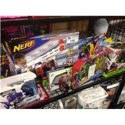 SHELF LOT OF TOYS INCLUDING NERF, BARBIE, AIRHOGS ETC.