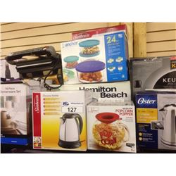 SHELF LOT OF HOUSEHOLD ITEMS INCLUDING  KEURIG, GRILL, TOASTER OVEN ETC.