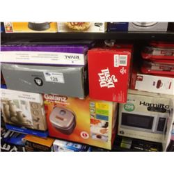 SHELF LOT OF HOUSEHOLD ITEMS INCLUDING RICE COOKER, GRILL, DISHES, MICROWAVE ETC.
