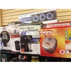SHELF LOT OF HOUSEHOLD ITEMS INCLUDING KEURIG, RICE COOKER, ETC.