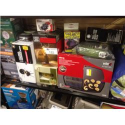 SHELF LOT OF CAMPING GEAR INCLUDING AIR MATTRESSES, PORTABLE GRILL, ETC.
