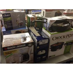 LOT OF HOUSEHOLD ITEMS INCLUDING  CROCK POT, COFFEEMAKER, ETC.