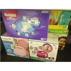 LOT OF PAMPERS DIAMPERS AND POTTY TRAINERS
