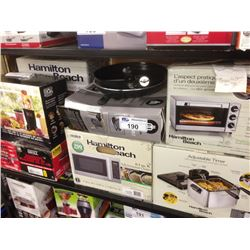 SHELF LOT OF HOUSEHOLD ITEMS INCLUDING HOMETRENDS GRILL, MAGIC BULLET, HAMILTON BEACH DEEP FRYERETC.
