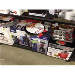 SHELF LOT OF HOUSEHOLD ITEMS INCLUDING  TASSIMO, NINJA DRINK MAKER,OSTER BLENDER ETC.