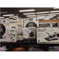 SHELF LOT OF HOUSEHOLD ITEMS INCLUDING  KEURIG, STARBASIX COOKWARE SET, ETC.