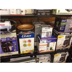 SHELF LOT OF HOUSEHOLD ITEMS INCLUDING  OSTER BLENDER, HAMILTON BEACH COFFEE MAKER ETC.