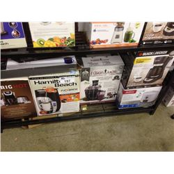 SHELF LOT OF HOUSEHOLD ITEMS INCLUDING KEURIG, FUSION JUICER, GRILL, TWO BURNER CAMP STOVE, ETC.