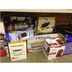 LOT OF HOUSEHOLD ITEMS INCLUDING CROCKPOT, KETTLE, ETC.