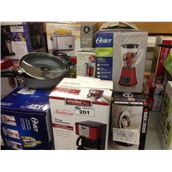LOT OF HOUSEHOLD ITEMS INCLUDING HOME TRENDS DEEP FRYER, OSTER JUICE EXTRACTOR, TOASTER, ETC.
