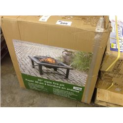 "30"" SLATE FIRE PIT, RUST RESISTANT, SAFETY MESH SCREEN"