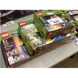 LEGO MINECRAFT THE CAVE 21113, THE DESERT OUTPOST 21121, THE NETHER FORTRESS 21122