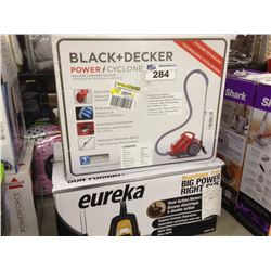 LOT OF 2 VACUUMS INCLUDING BLACK AND DECKER POWER CYCLONE AND EUREKA BAGLESS CYCLONIC VACUUM
