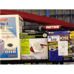 SHELF LOT OF UTILITY HEATER, WATER HOSE, BOOSTER CABLE, COOLER ETC.